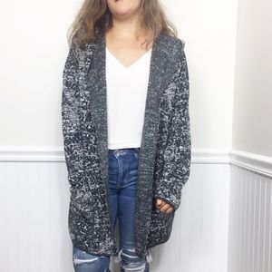 Pure JIll | Gray Speckled Hooded Cardigan XL